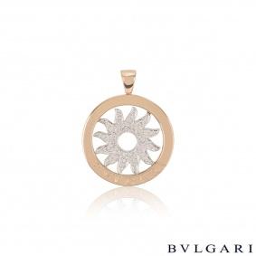 Bvlgari White & Rose Gold Diamond Tondo Pendant